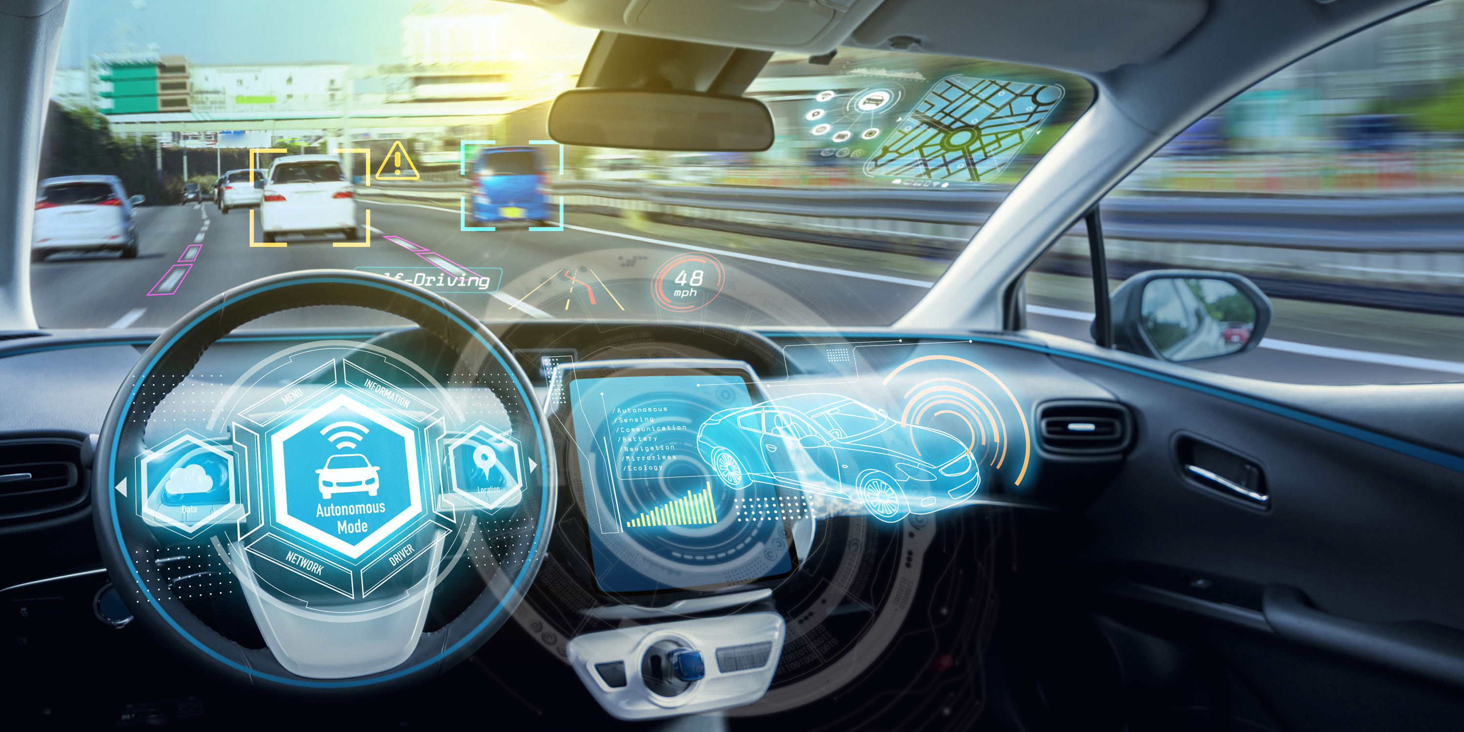 The Interior Of A Smart Car With Blue Holograms To Depict Advanced Driver Istance System